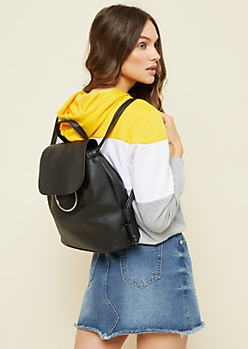 Black Ring Bucket Bag Backpack
