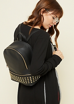 Black Zipper Accent Gold Studded Backpack