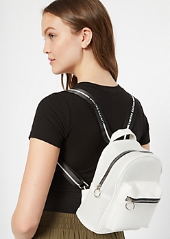 White Faux Leather Striped Strap Mini Backpack