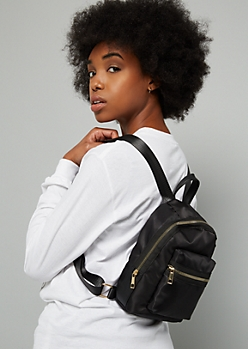Black Woven Gold Zip Mini Backpack