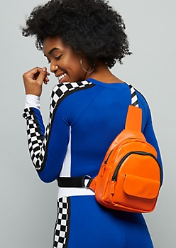 Orange Faux Leather Crossbody Mini Backpack
