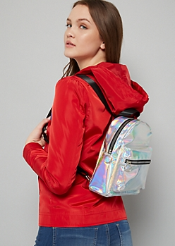 Silver Iridescent Mini Backpack