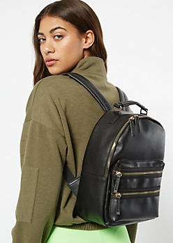 Black Triple Zip Backpack