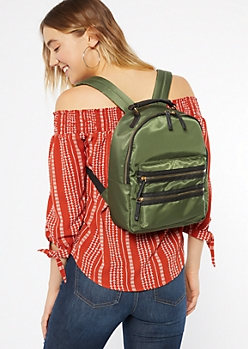 Olive Triple Zip Backpack