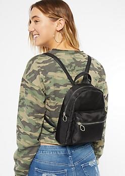 Black Nylon Mini Backpack