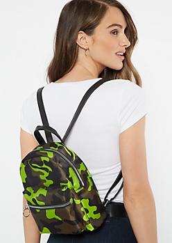 Green Camo Print Mini Backpack