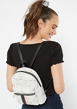 White Marble Striped Mini Backpack
