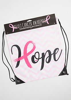 Pink Chevron Striped Hope Drawstring Backpack