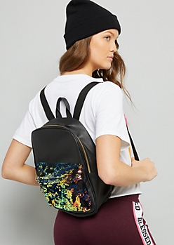 Black Iridescent Sequin Pocket Backpack