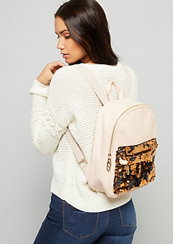 Pink Rose Gold Sequin Pocket Backpack