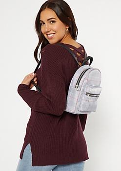 Gray Plaid Print Nylon Mini Backpack