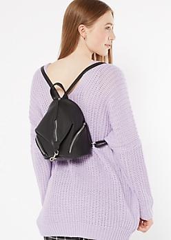 Black Asymmetrical Dog Clip Mini Backpack