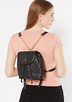 Black Chevron Quilt Mini Backpack
