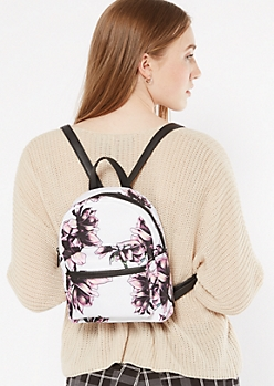 White Floral Print Double Zip Mini Backpack
