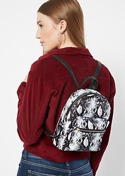White Snakeskin Print Nylon Mini Backpack