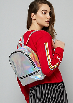 Silver Iridescent Gold Zipper Mini Backpack