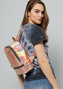 Rose Gold Iridescent Gold Zipper Mini Backpack