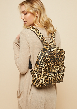 Leopard Print Cat Handle Backpack