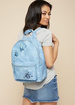 Blue Embroidered Floral Print Denim Backpack