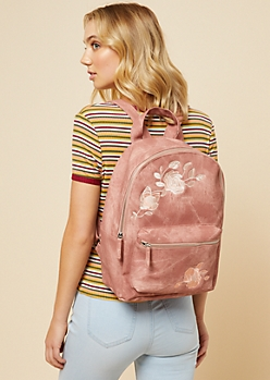 Pink Embroidered Floral Print Denim Backpack