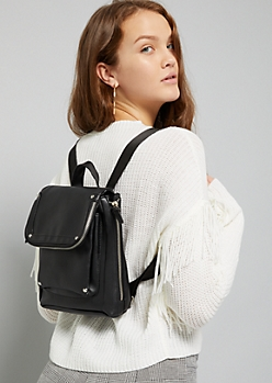 Black Studded Square Mini Backpack