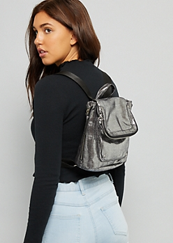 Silver Studded Square Mini Backpack