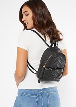 Black Chain Quilt Mini Backpack
