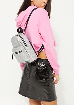 Silver Iridescent Glitter Backpack
