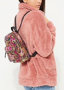 Floral Metallic Mini Backpack