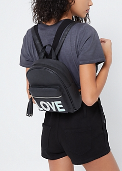 Black Faux Leather Love Mini Backpack
