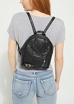 Black Moto Mini Backpack