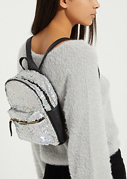 Silver Sequined Mini Backpack