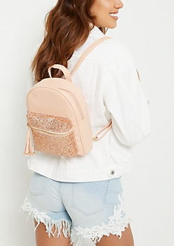 Pink Faux Leather Glitter Mini Backpack
