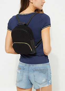 Black Faux Sherpa Mini Backpack