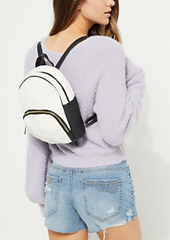 White Faux Sherpa Mini Backpack