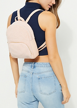 Pink Faux Sherpa Mini Backpack