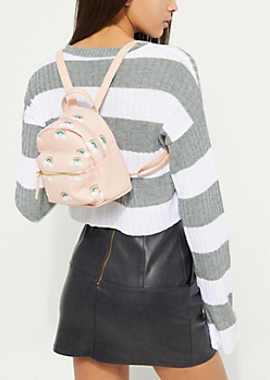 Pink Faux Leather Rainbow Micro Backpack
