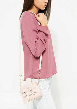 Pink Knotted Bow Front Crossbody Bag