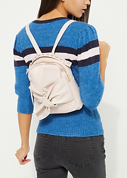 Pink Knotted Bow Mini Backpack