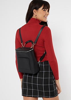 Black Structured Faux Leather Mini Backpack