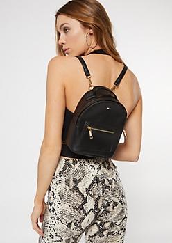 Black Faux Leather Heart Mini Backpack