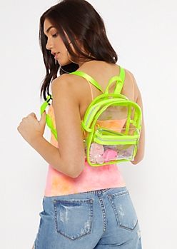 Neon Green Clear Mini Backpack