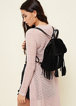 Black Faux Suede Fringe Mini Backpack