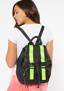 Black Neon Buckle Drawstring Backpack