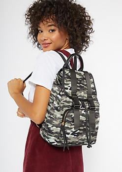 Camo Print Buckle Drawstring Backpack