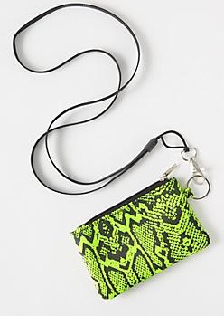 Neon Green Snakeskin Print Lanyard