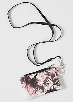 White Floral Print Lanyard
