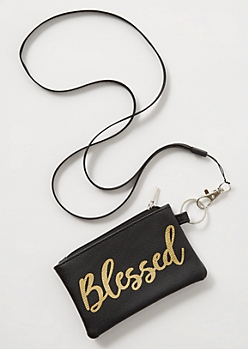 Black Blessed Metallic Lanyard
