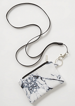 White Marble Print Lanyard