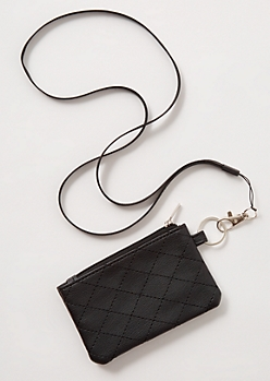 Black Quilt Faux Leather Lanyard